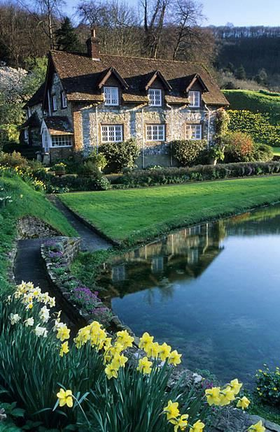 Willow Cottage in Sussex with pond and daffodils. Photo by John Glover.
