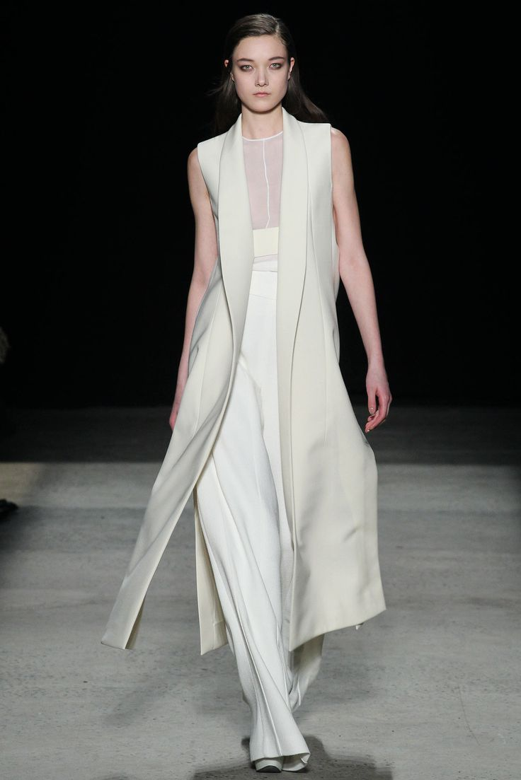 Long white vest to match our dress? Yes, please. Narcisso Rodriguez knows what every edgy, urban bride wants. (Fall 2015 nyfw)
