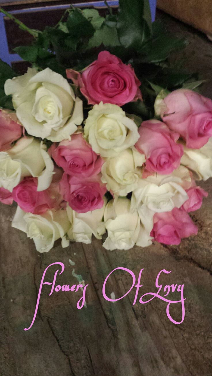 White And Pink Roses Long Stemmed Bouquet With Lush Greenery