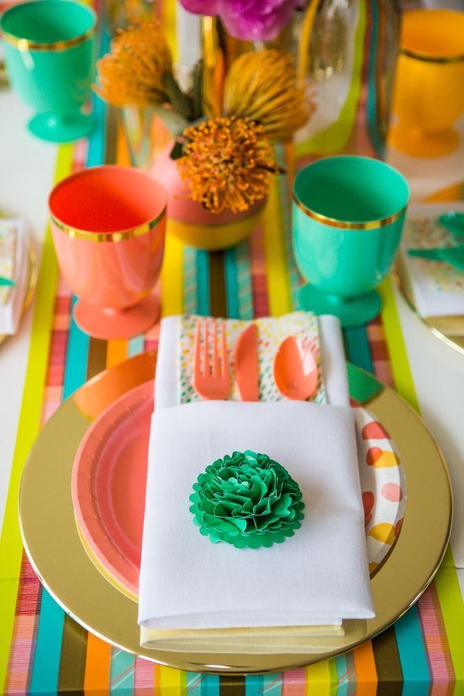 A bold and bright table setting just right for any occasion.