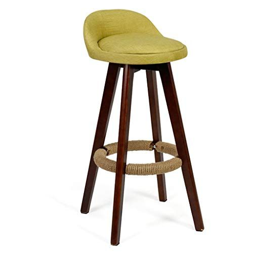 Barstools High Chair Bar Chair Barstools Footrest Stool With Backrest Swivel Seat Linen Cover Dining Chairs Wood Bar Stools Restaurant Stools Breakfast Chairs