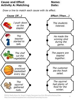 Cause and Effect Worksheets: This packet contains fun activities to help your students learn cause and effect skills. There is a lesson involving dominoes and a marble. Students will enjoy reading cause and effect examples, matching cause and effect, creating causes, creating effects, writing or drawing their own causes and effects, and taking a final quiz.