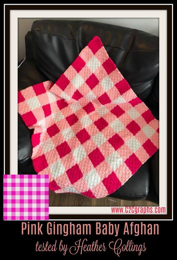 Pink Gingham Afghan, C2C Crochet Pattern, Written Row Counts