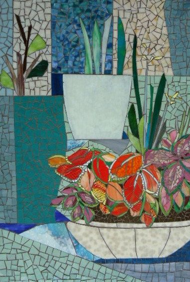 MOSAIC MURAL - mid-century style - plant life mosaic art panel for indoor/outdoor  2ft x 3ft