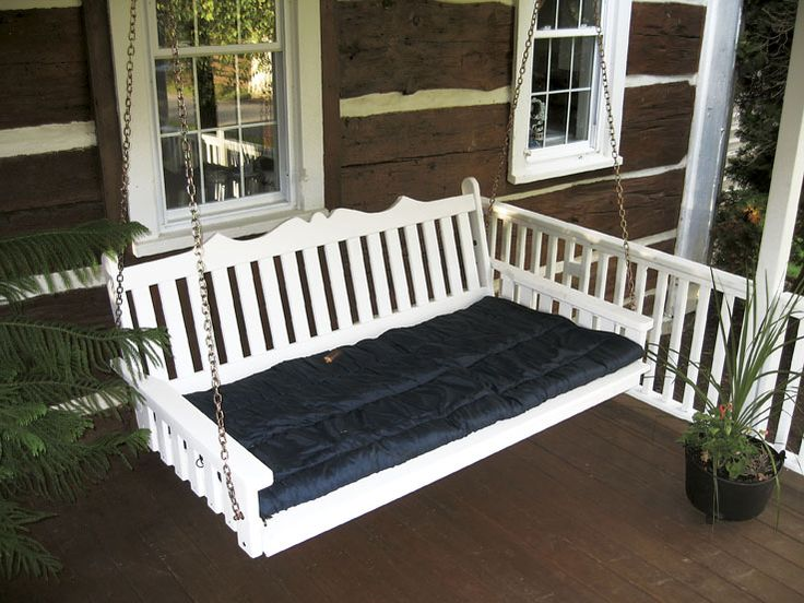 6u0027 Painted White Porch / Patio Swing Bed   Royal English Style. Made Of