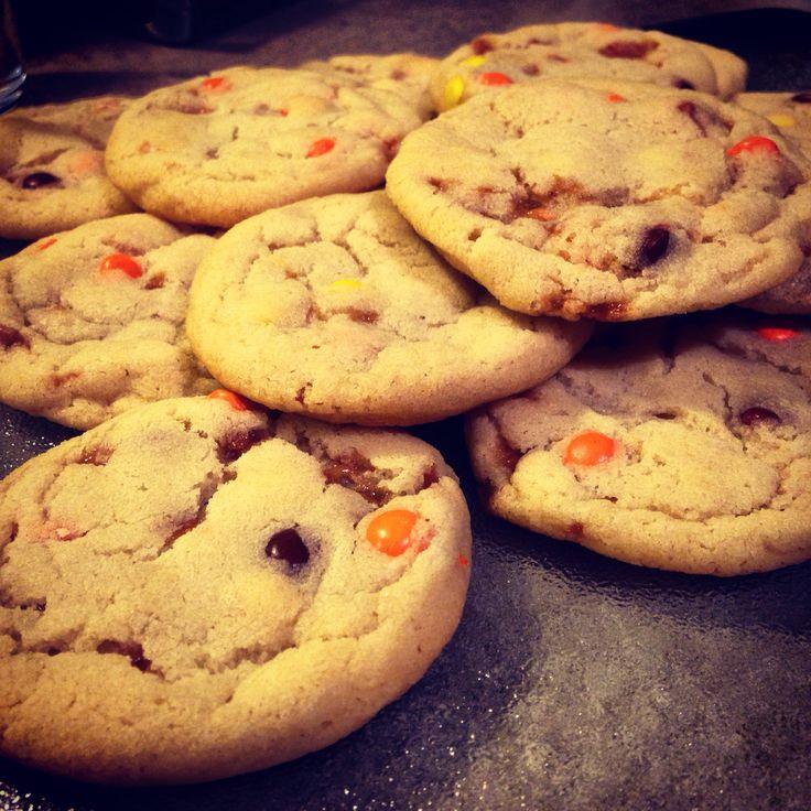 Reeses pieces/Skor coconut oil cookies!