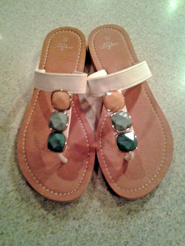 SOPHIE SUE Beaded Sandals Flexible Non-Skid Sole Flip Flops Sz 8 #SophieSue #FlipFlops