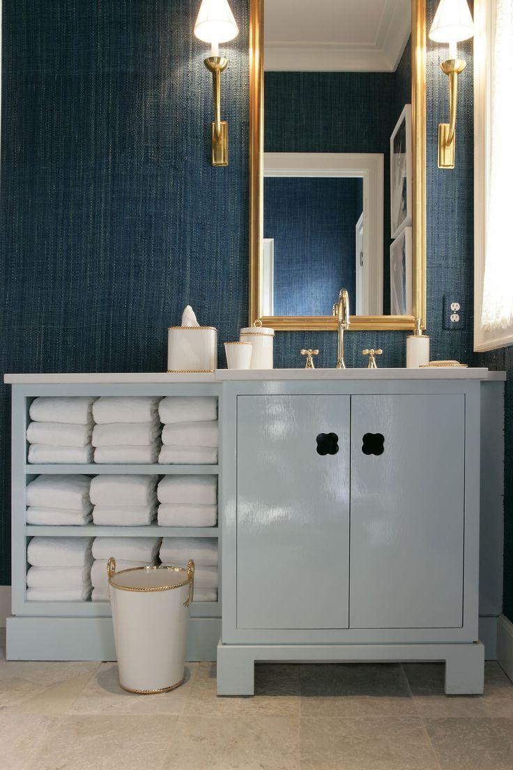 Chic Blue Bathroom Features Dark Blue Grasscloth Wallpaper, Phillip  Jeffries Madagascar Raffia 3489 Key West Teal Framing Antiqued Burnished  Brass Sconces ...