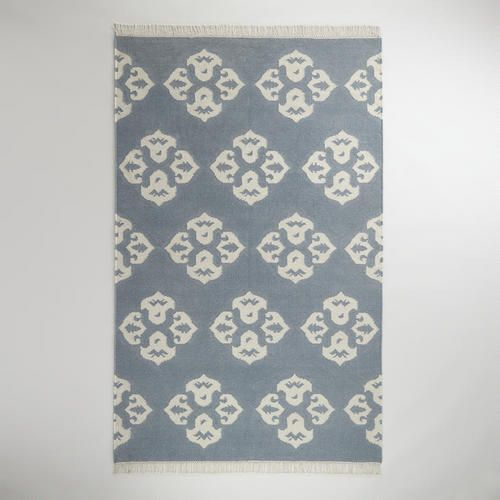 5 X 8 Gray Ivory Medallion Wool Flat Woven Rug World