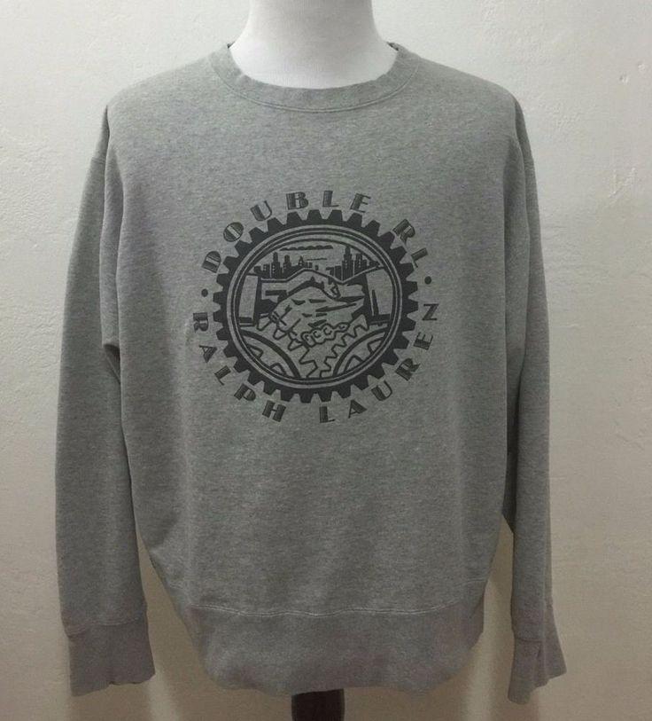 Double Ralph Lauren RRL Men's Crewneck Sweater SPELL OUT Logo Large USA RARE  #RRL #Crewneck