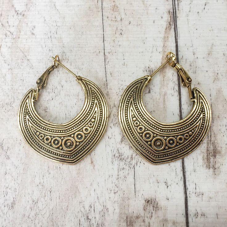 antique gold bohemian earrings | boho gypsy festival jewellery | indie and harper