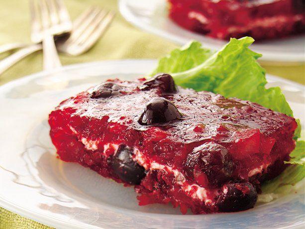 Cherry Jello Cake Recipe: Cherry-Cream Cheese Layered Gelatin Salad