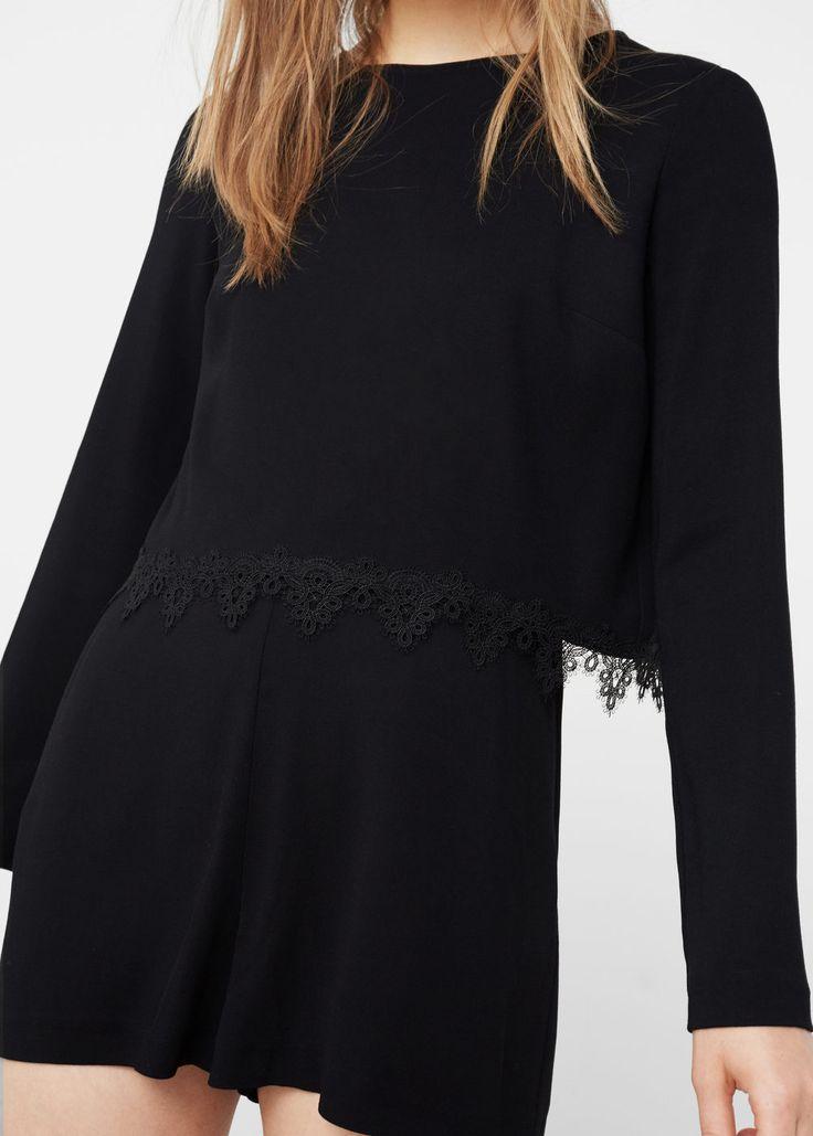 Blond-lace appliqué jumpsuit   MANGO