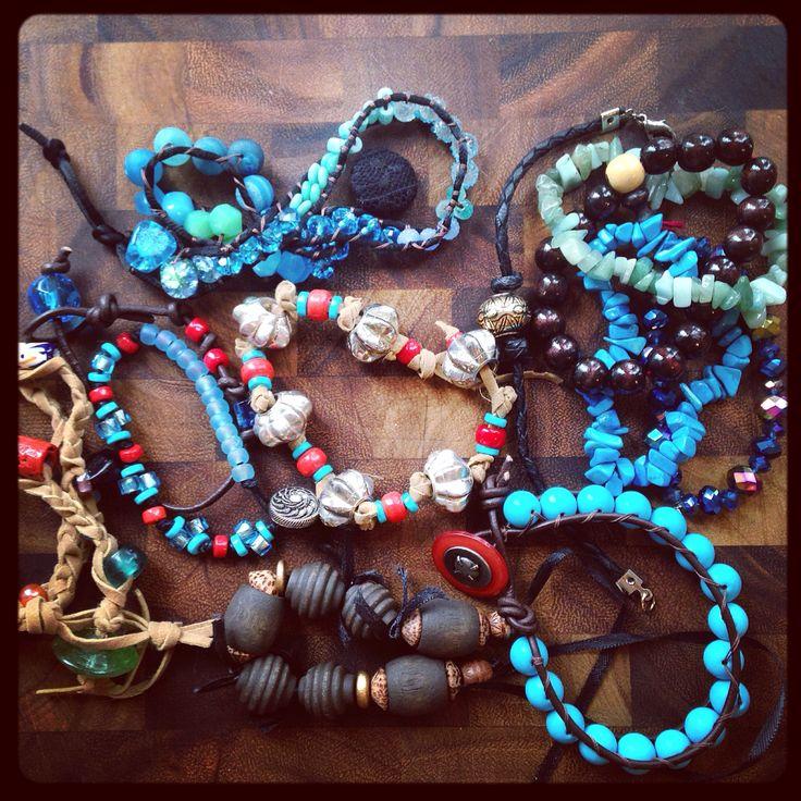 Bohemian wrap bracelets and regular boho bracelets for layering.