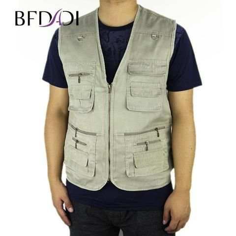 b401550c227 2018 Summer Men s Hot sale Plus Size 4XL 5XL Jacket Denim Vest Casual Multi-pocket  Waistcoat Men Free Shipping