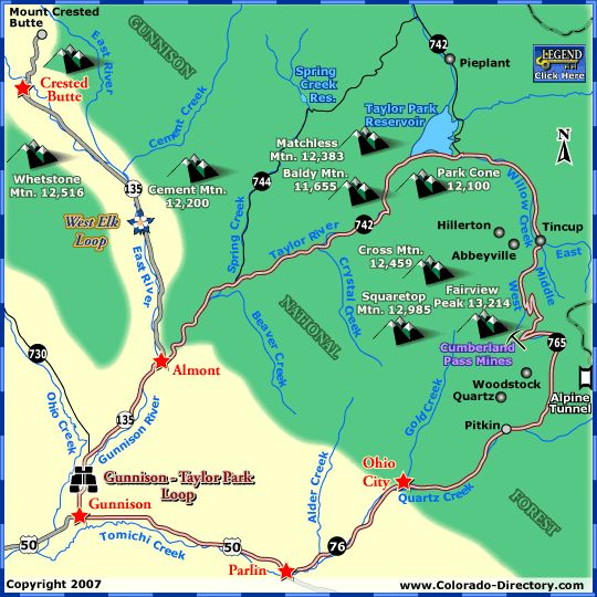 Gunnison Taylor Park Loop Scenic Drive Map | Colorado Scenic Byways ...