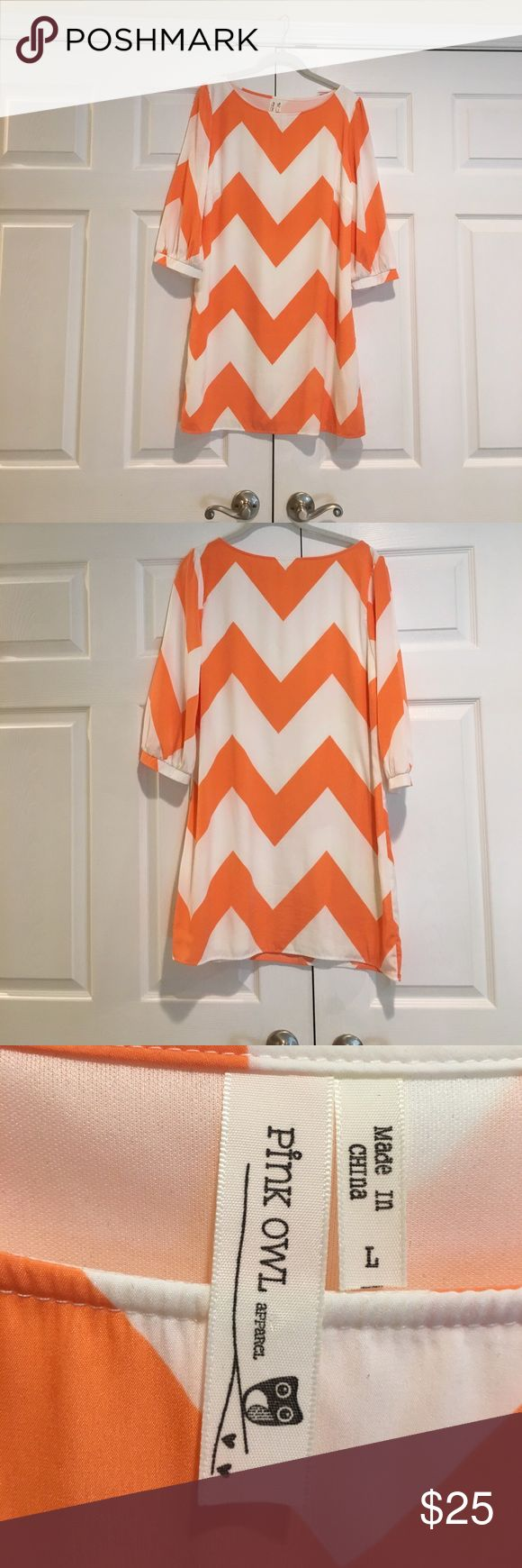 Cream and orange chevron dress Cream and orange chevron dress. EUC. Worn a handful of times. Polyester material with lining underneath. Hand wash. 33.5 inches in length. 18 inch sleeves. 16 inch bust. Runs small. Pink owl is the brand. Purchased at local boutique. Make an offer. No trades. Dresses