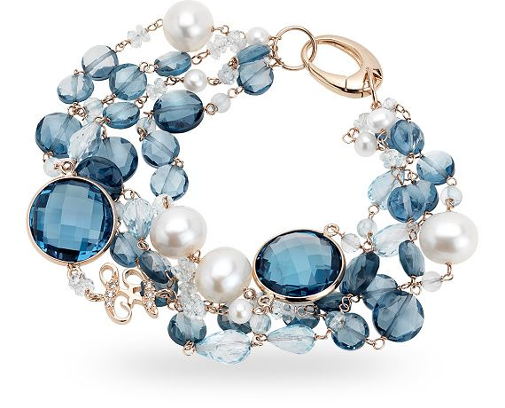 ZGBR0452RRTLPE - 18 kt. red gold bracelet with 99.00 ct. of london topaz, pearls and 0.04 ct. of diamond