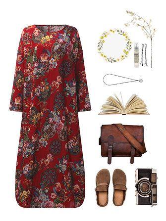 Only US$20.69 , shop Vintage Women Long Sleeve Loose Floral Printed Maxi Dresses at Banggood.com. Buy fashion Vintage Dresses online.