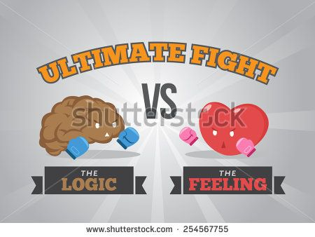 Logic versus feeling. and look?! who's gonna win the championship of inner peace