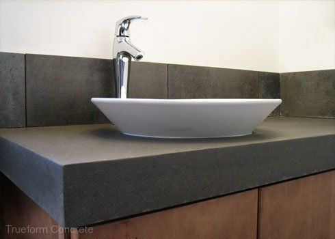 Photos On Concrete vanity top with vessel sink Concrete Vanity Tops Trueform Concrete Custom