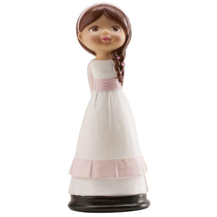 Figura de niña para la tarta de primera comunión llena de dulzura, con las manos hacia atrás y el pelo recogido en una bonita trenza