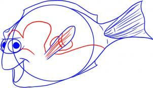 How to Draw Dory from Finding Nemo, Step by Step, Disney Characters, Cartoons, Draw Cartoon Characters, FREE Online Drawing Tutorial, Added by Dawn, January 28, 2009, 2:19:53 pm