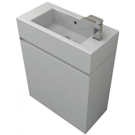 Saneux Matteo Handleless Cloakroom Vanity Unit & Basin 51x25cm