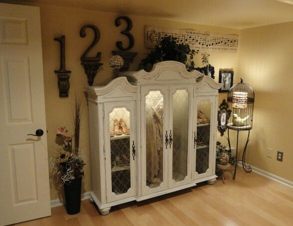 Repurpose The Top Part Of An Old China Cabinet To Display Your Fave Items Or Collectibles