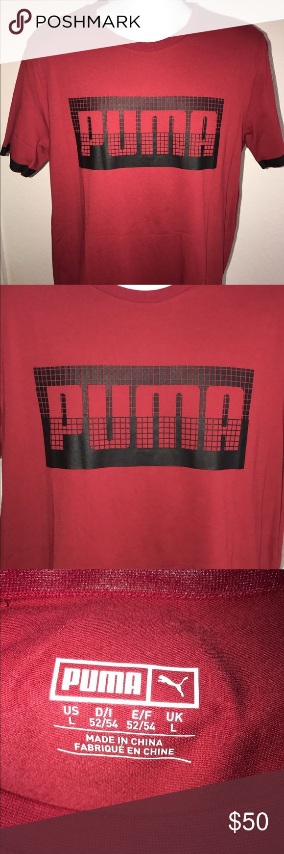 Men's t-shirt Men's t-shirt with black stripped sleeves and black zipper on the side in excellent condition. Never been worn . Puma Shirts Tees - Short Sleeve