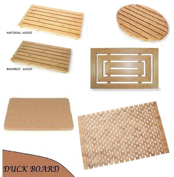wood natural bamboo wooden duck board rectangular bathroom bath shower mat new