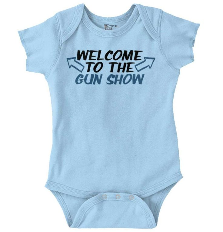 Gun Show Onesie | welcome gun show guns muscles bear arms biceps triceps workout show off sun sunny beach shore coast train training exercise funny ironic cute patriotic political American America usa  baby boys girls clothes onesie one-piece newborn months infant
