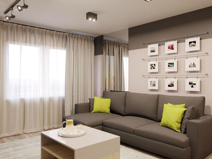 Современный стиль, оформление гостиной, интерьер однокомнатной квартиры, интерьер мягкой зоны
