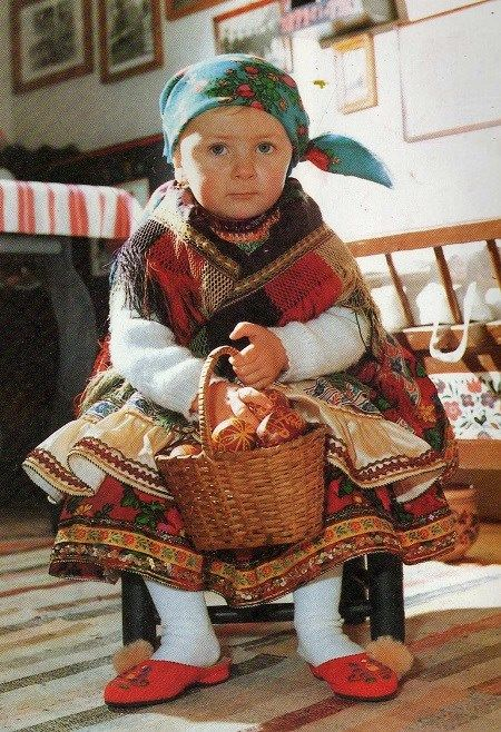 Beautiful hungarian child folk costume in Easter. A village nearby Szeged. Hungary