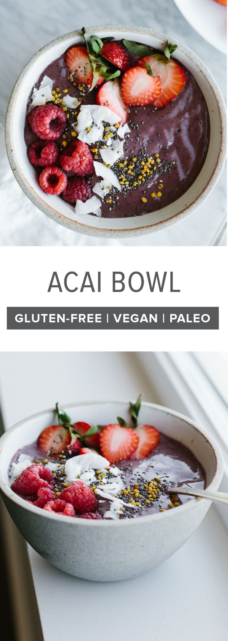 Acai bowl recipe with mixed berries. A delicious, healthy smoothie bowl for breakfast or lunch that's gluten-free, vegan and paleo. #acai #acaibowl #smoothiebowlrecipe