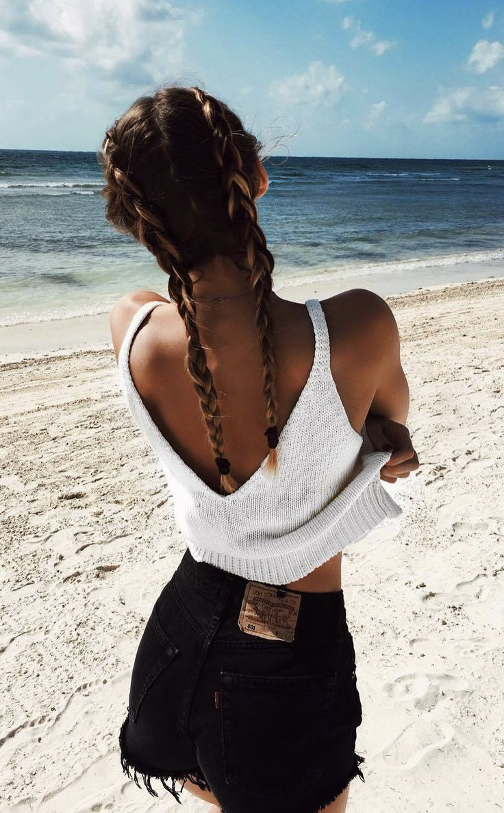 Beachy knitted top with deep v-back