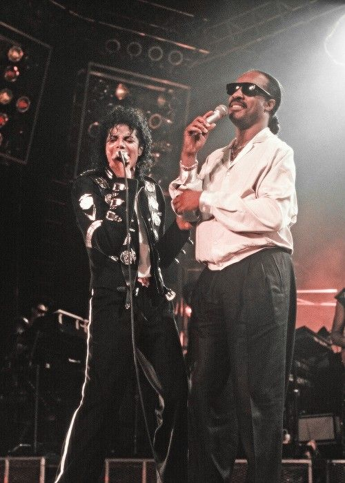"Two incredible megastars: ""king of Pop"" Michael Jackson and Music-Genius-Icon Stevie Wonder."
