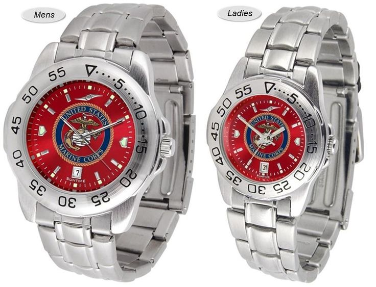 The Sport Steel AnoChrome US Marine Corps Watch is in your choice of Mens or Ladies styles. Showcases the military logo. Stainless Steel band. Free Shipping. Visit SportsFansPlus.com for Details.