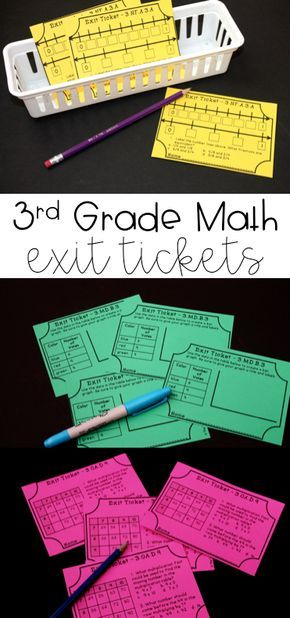 3rd grade math exit tickets for quick and easy assessing! There are two exit slips for each common core math standard. Covering word problems, fractions, rounding, graphs, area, and perimeter.