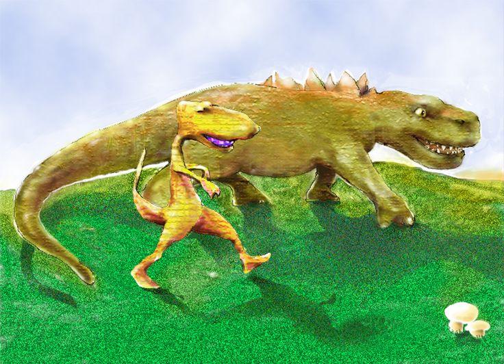 """""""Dinos"""". Obra digital (finales de los años 90)."""