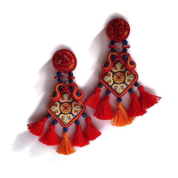 Orecchini ceramica orecchini in soutache di Ullallabijoux su Etsy