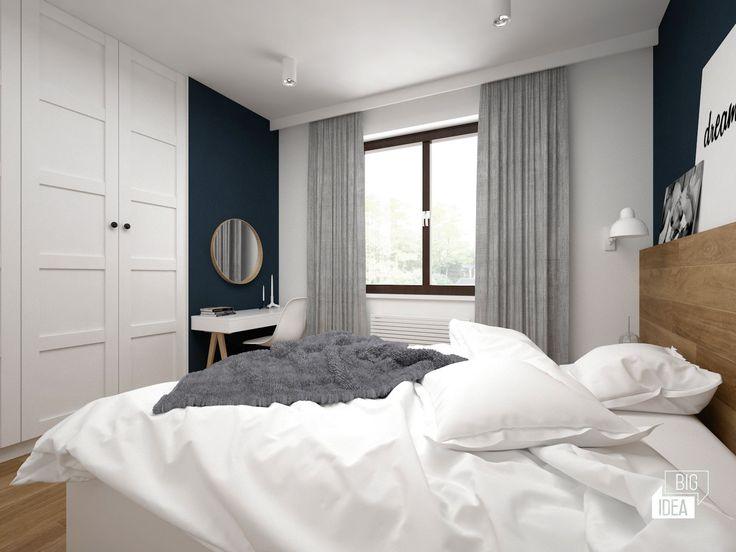 Projekt mieszkania 85m2 w Krakowie, styl eklektyczny, loftowy, wnętrze prywatne; Sypialnia