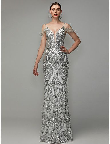 9f3b36fb Sheath / Column V Neck Floor Length Sequined Prom / Formal Evening Dress  with Beading / Sequins by TS Couture®