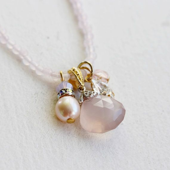 Light Pink Agate Pink Chalcedony Drop Pearl by YuniDesigns on Etsy