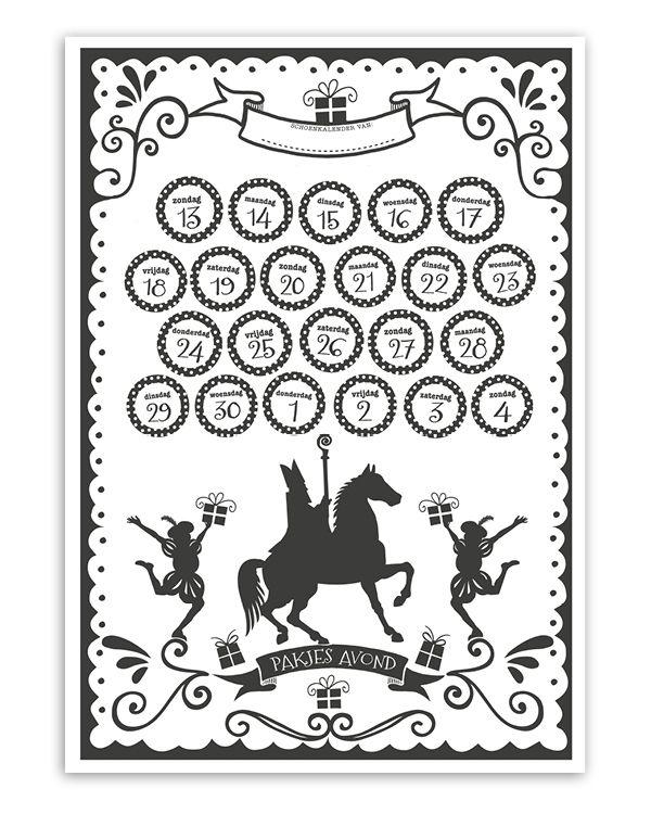 Download gratis de Printcandy Sint Schoen Kalender! Een Sinterklaas Kalender voor het schoenzetten en aftelkalender voor Sinterklaasavond.