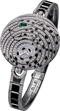 High Jewelry visible hour watch 18K white gold, lacquer, emerald, diamonds
