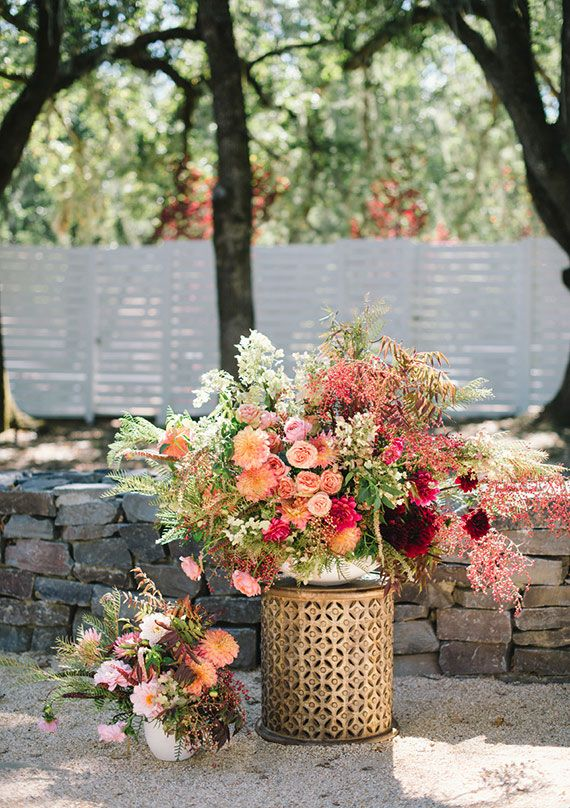 Colorful, modern Durham Ranch wedding   florals by Shotgun Floral Studio   photo…