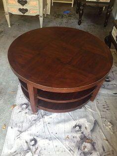 mesa de café redonda transforma em otomano, móveis pintados adornado, reupholster