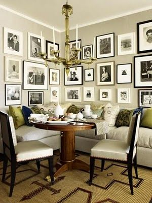 Photo wall done fabulously — gallery wall & banquette