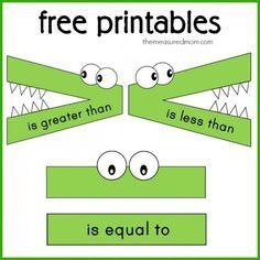 imprimibles gratis para menos, mayor que